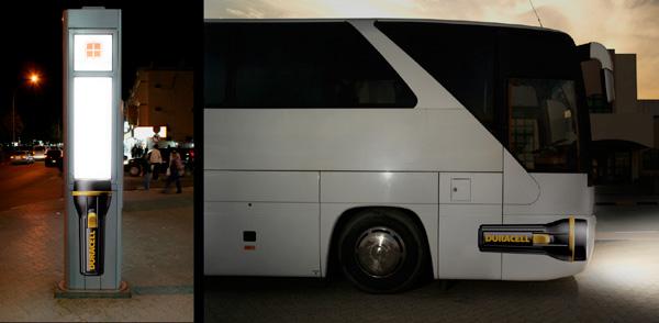بازاریابی چریکی با استفاده از اتوبوس برای تبلیغ باطری برند duracell