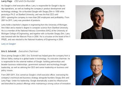 صفحه معرفی تیم گوگل